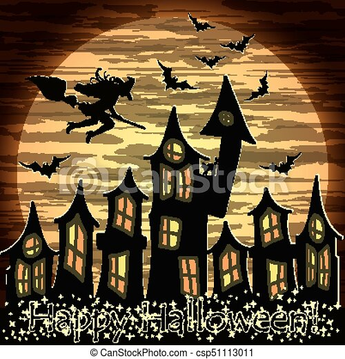 Happy Halloween Card With Witch And Magic Castle, Vector Illustration