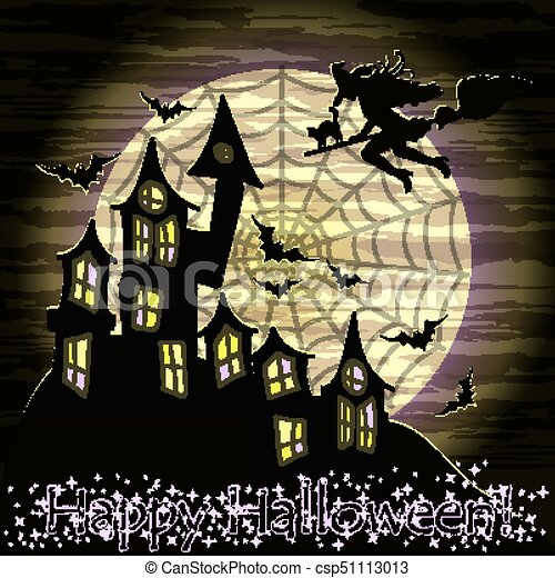 Happy Halloween Card With Witch, Cat And Magic Castle, Vector Illustration