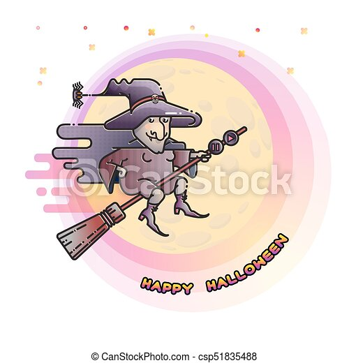 Happy Halloween Card With Witch On A Broom And Moon.   Csp51835488