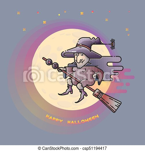 Happy Halloween Card With Witch On A Broom And Moon.   Csp51194417
