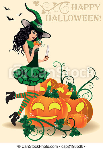 Happy Halloween Card. Young Witch   Csp21985387
