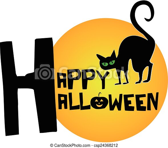 happy halloween cat and moon vector icon vector clip art search rh canstockphoto com happy halloween clipart free happy halloween clip art images