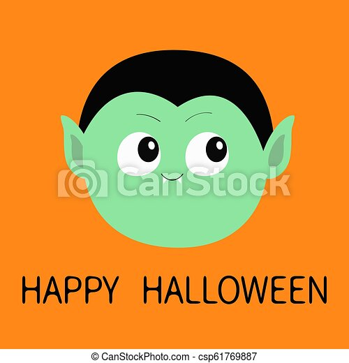 Happy Halloween. Count Dracula round head. Cute cartoon funny spooky vampire baby character. Green face with fangs. Greeting card. Flat design. Orange background. Isolated. - csp61769887