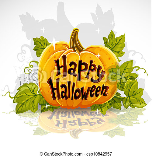Happy Halloween cut out pumpkin - csp10842957
