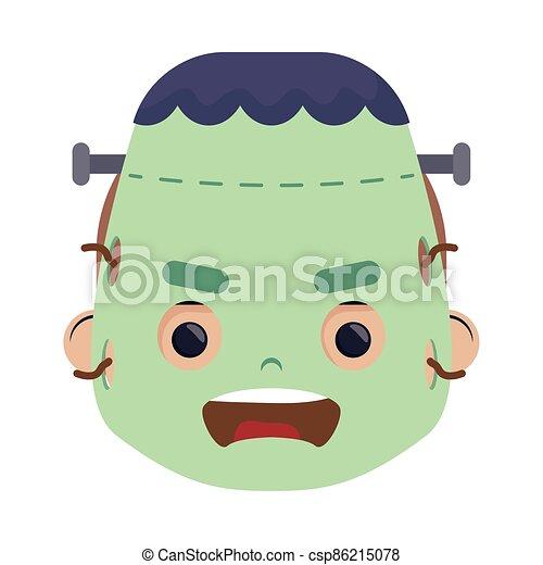 happy halloween cute boy disguise frankenstein head character - csp86215078
