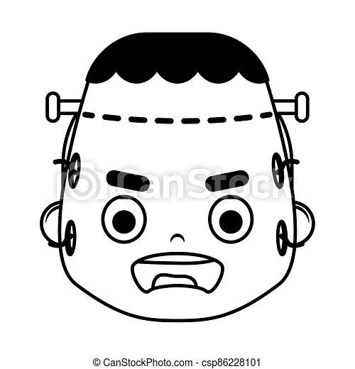 happy halloween cute boy disguise frankenstein head character - csp86228101