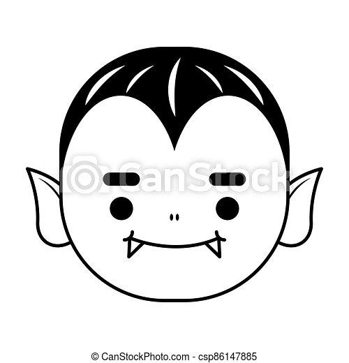 happy halloween cute dracula head character - csp86147885