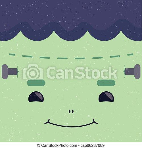 happy halloween cute frankenstein face character - csp86287089