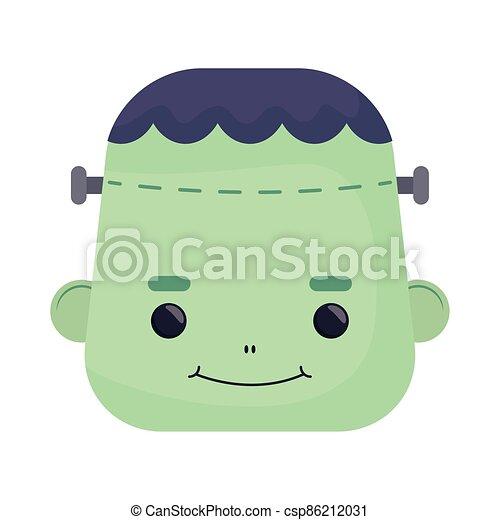 happy halloween cute frankenstein head character - csp86212031