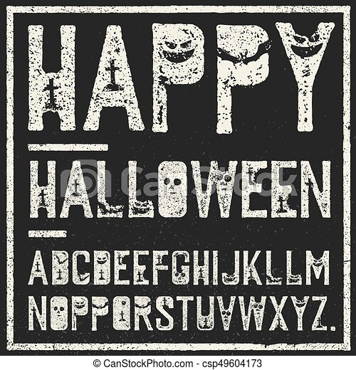 Happy Halloween Decorative Alphabet Grunge Stamp Letters With Scary Elements Bats Graves Pumpkins Vector Font Template
