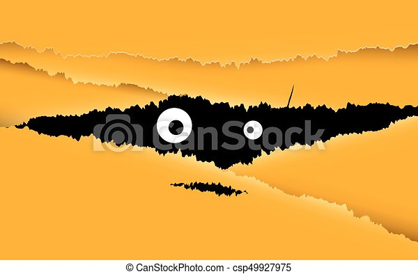 Happy Halloween Design Illustration Look Through The Crack For Yellow Background