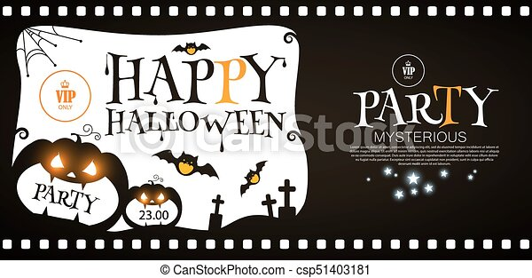 happy halloween flyer template spooky party invitation with pumpkin