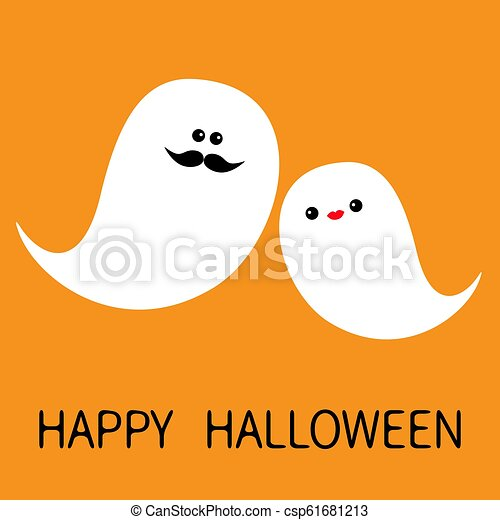 Happy Halloween. Ghost spirit family set with lips, mustaches. Scary white ghosts family. Cute cartoon character. Smiling spooky face cheeks Orange background. Greeting card Isolated Flat design. - csp61681213
