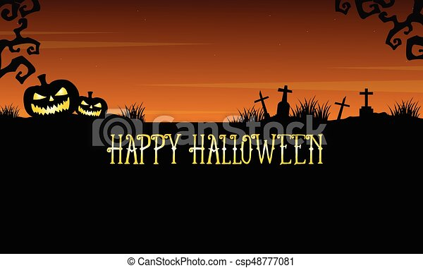 Happy Halloween graveyard landscape background