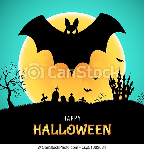 Happy halloween greeting card with bat castle and moon happy happy halloween greeting card with bat castle and moon csp51083034 m4hsunfo
