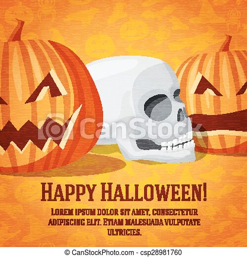 Happy halloween greeting card with carved pumpkins and human skull fading to the perspective.  - csp28981760