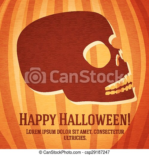 Happy halloween greeting card with carved human skull on the pumpkin.  - csp29187247