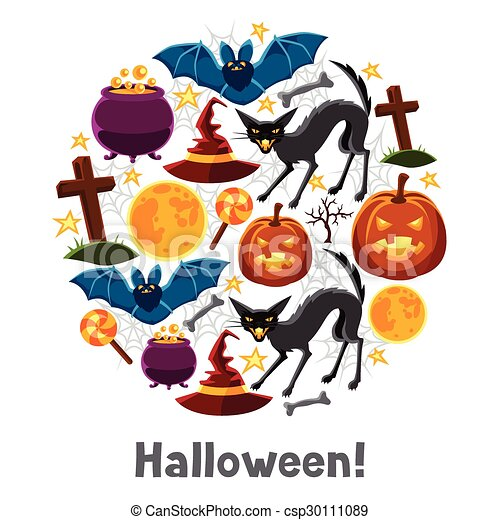 happy halloween greeting card with characters and objects vector rh canstockphoto ca greeting card clip art free greeting card clip art images