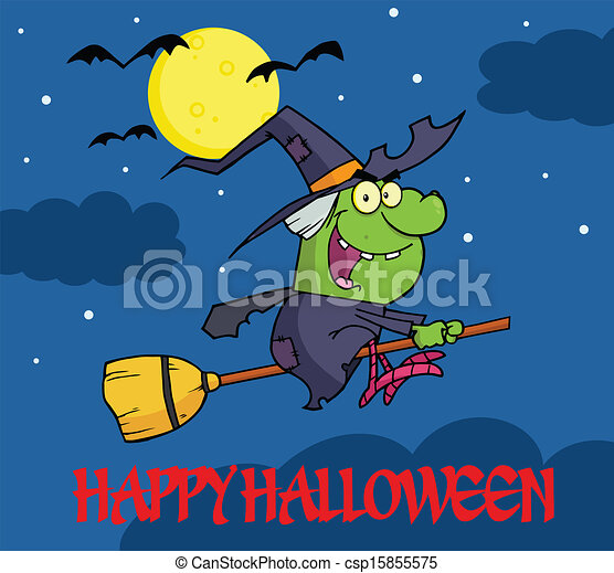 Happy Halloween Greeting With Witch - csp15855575