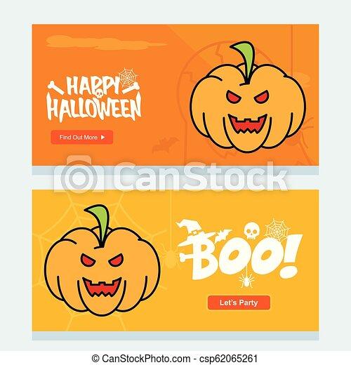 Happy Halloween invitation design with pumpkin vector - csp62065261