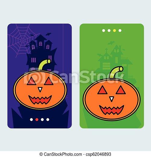 Happy Halloween invitation design with pumpkin vector - csp62046893