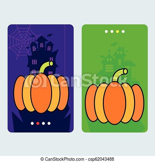 Happy Halloween invitation design with pumpkin vector - csp62043488