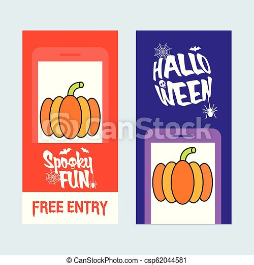 Happy Halloween invitation design with pumpkin vector - csp62044581