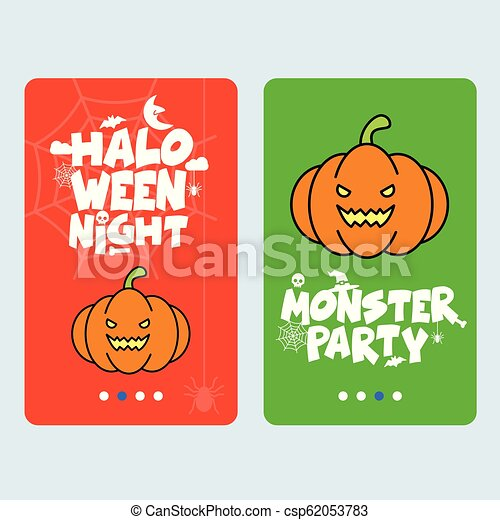 Happy Halloween invitation design with pumpkin vector - csp62053783