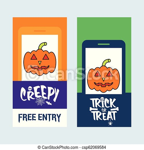 Happy Halloween invitation design with pumpkin vector - csp62069584