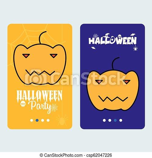 Happy Halloween invitation design with pumpkin vector - csp62047226