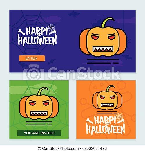 Happy Halloween invitation design with pumpkin vector - csp62034478