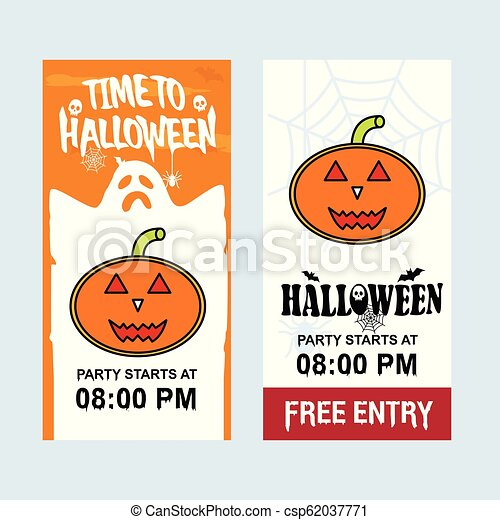 Happy Halloween invitation design with pumpkin vector - csp62037771