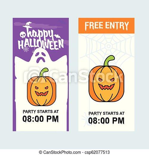 Happy Halloween invitation design with pumpkin vector - csp62077513