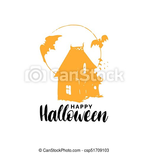 Happy Halloween Lettering With Dark House Vector Illustration For Party Invitation Card Poster All Saints Eve Background