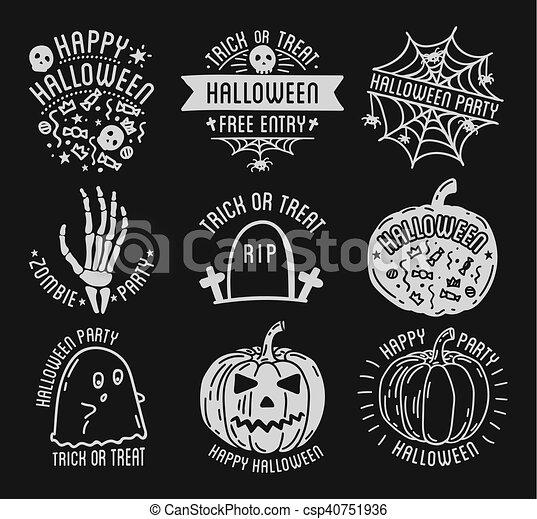 Happy halloween logo with curving pumpkins. Set of halloween ...