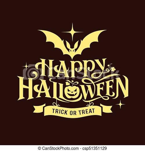 happy halloween message silhouette design on black background