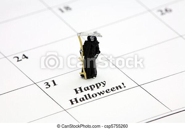 Happy Halloween on a calendar date - csp5755260