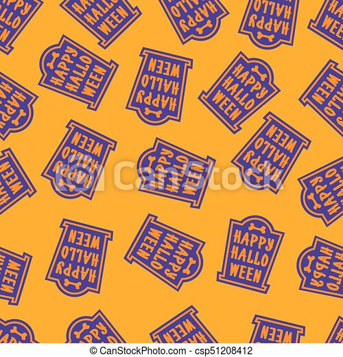 Happy Halloween Pattern Tomb Color On Yellow Background For Decoration Holiday Party Poster Greeting Card Vector