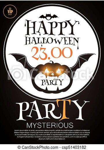 happy halloween poster template spooky party flyer with vector