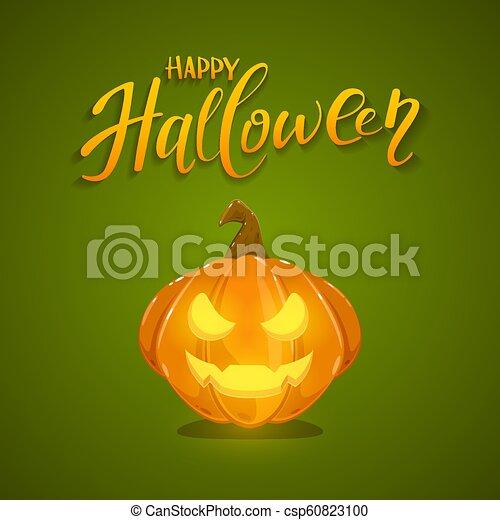 Happy Halloween Pumpkin on Green Background - csp60823100
