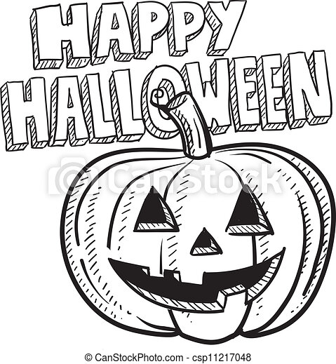 Happy Halloween Pumpkin Sketch Doodle Style Happy Halloween Jack O