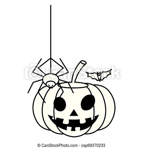 happy halloween pumpkin with spider and bat - csp69370233