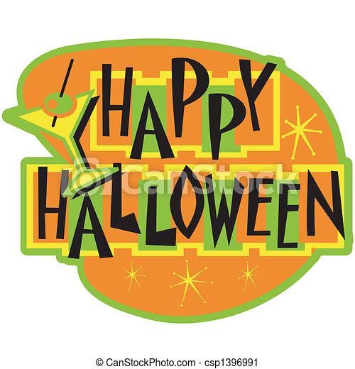 Happy Halloween sign clip art - csp1396991