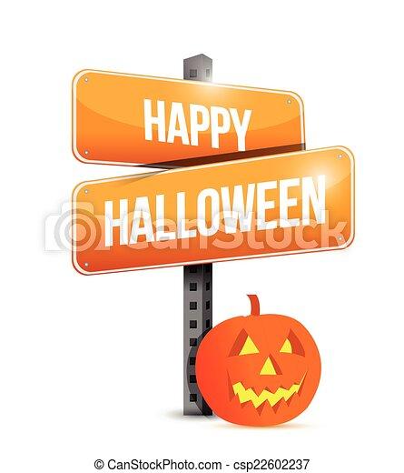 happy halloween sign illustration design - csp22602237