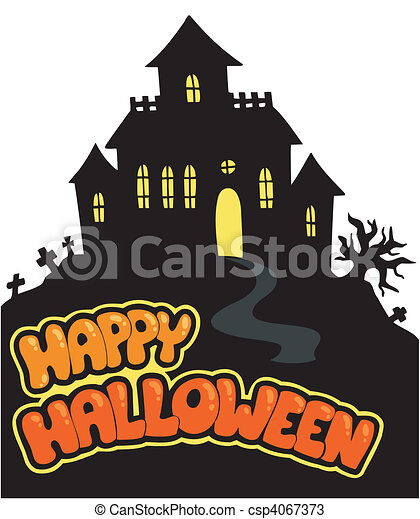 Happy halloween sign with house - vector illustration. vectors ...