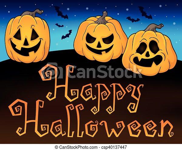 Happy halloween sign with pumpkins 2 - eps10 vector... eps vector ...