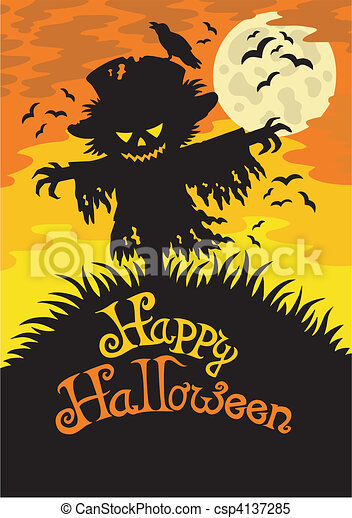 Happy halloween sign with scarecrow - vector illustration. clipart ...