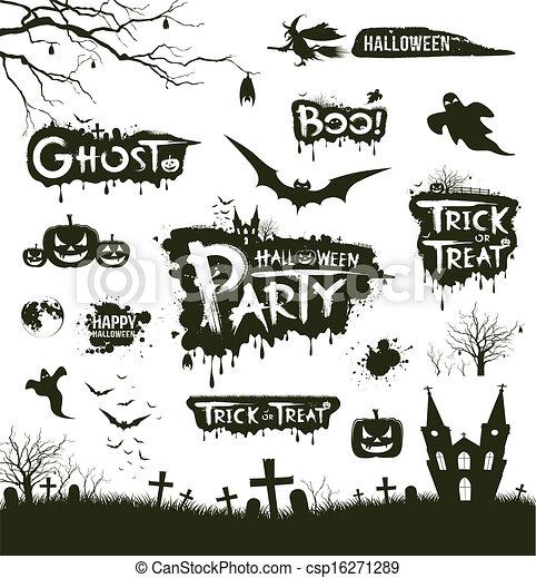 Happy Halloween Silhouette   Csp16271289