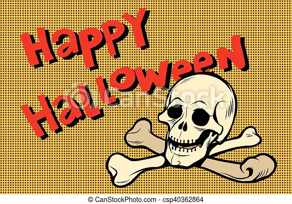 Happy Halloween skull and bones - csp40362864