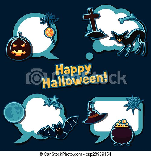 Happy halloween speech bubbles with stickers characters and objects - csp28939154